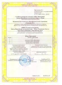 Приложение к свидетельству о государственной аккредитации